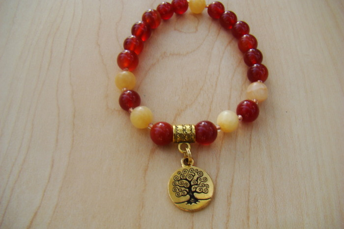Carnelian with Yellow Calcite and a Tree of Life Charm