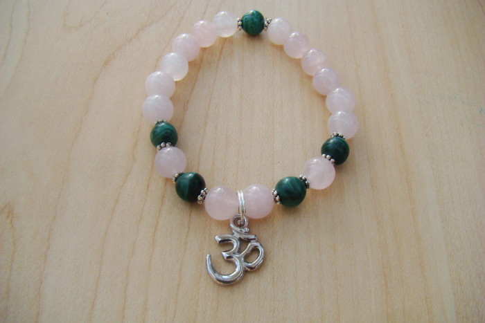 Rose Quartz and Malachite with an OM Symbol