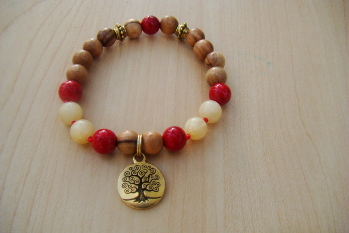 Olivewood with Coral and Yellow Calcite with a Tree of Life Charm