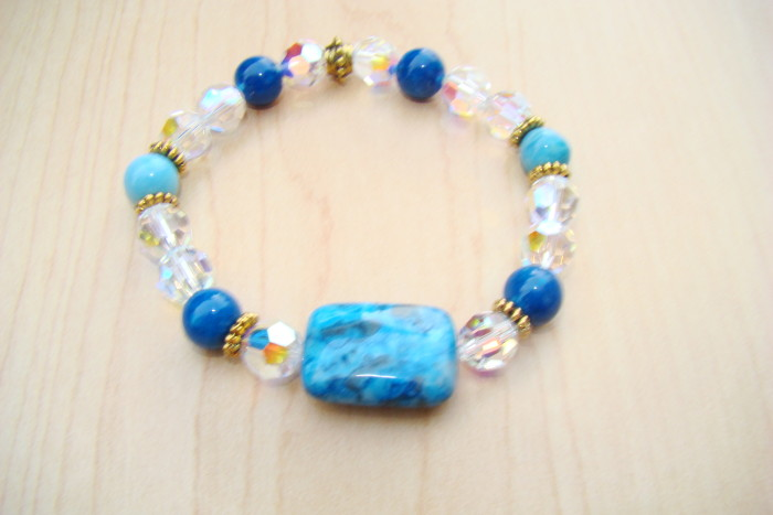 Swarovski Crystal with Blue Agate